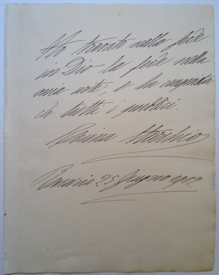 Autographed Letter Signed with very large handwriting. Rosina STORCHIO, 1876 - 1945.