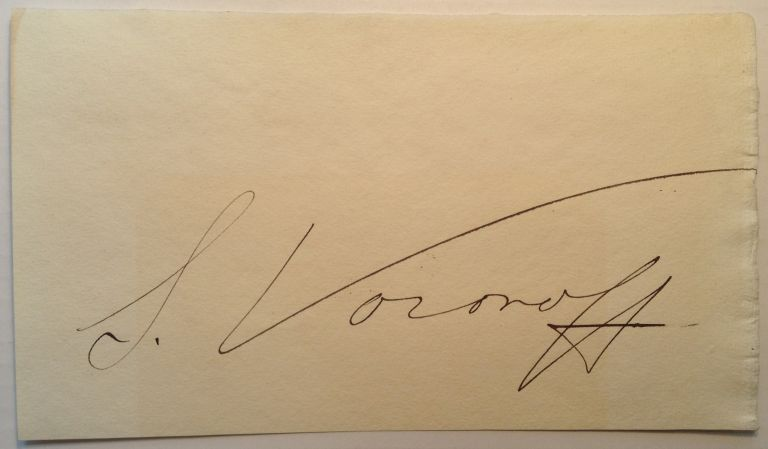 Huge Signature on a blank page. Serge VORONOFF, 1866 - 1951.