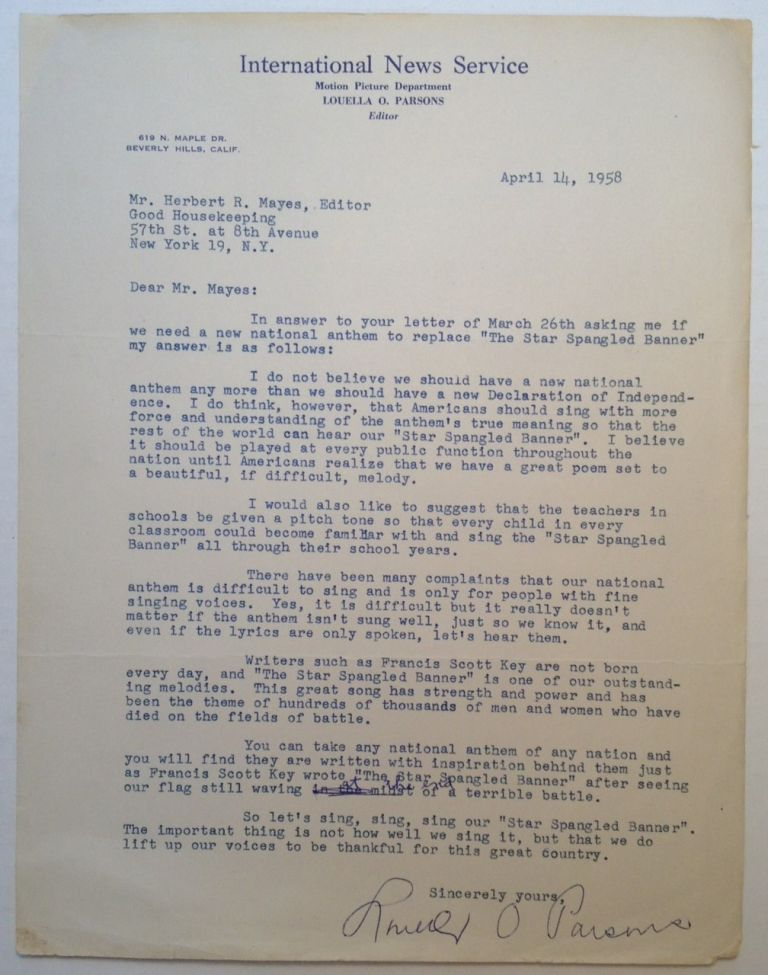 Patriotic Typed Letter Signed to editor Herbert Mayes. Louella PARSONS, 1881 - 1972.