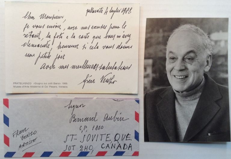 Autographed Letter Signed in French. Fratel VENZO, 1900 - 1989.