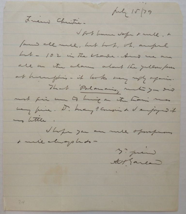"""Autographed Letter Signed """"A.H. Garland"""" as Senator. Augustus Hill GARLAND, 1832 - 1899."""