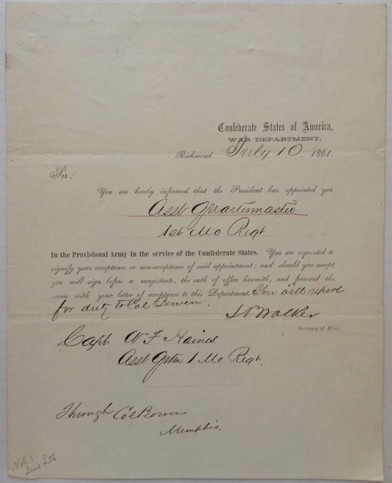 Partially Printed Document Signed. Leroy Pope WALKER, 1817 - 1884.