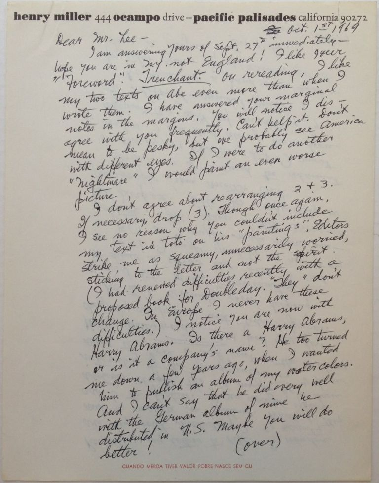 Lengthy Autographed Letter Signed on personal stationery. Henry MILLER, 1891 - 1980.