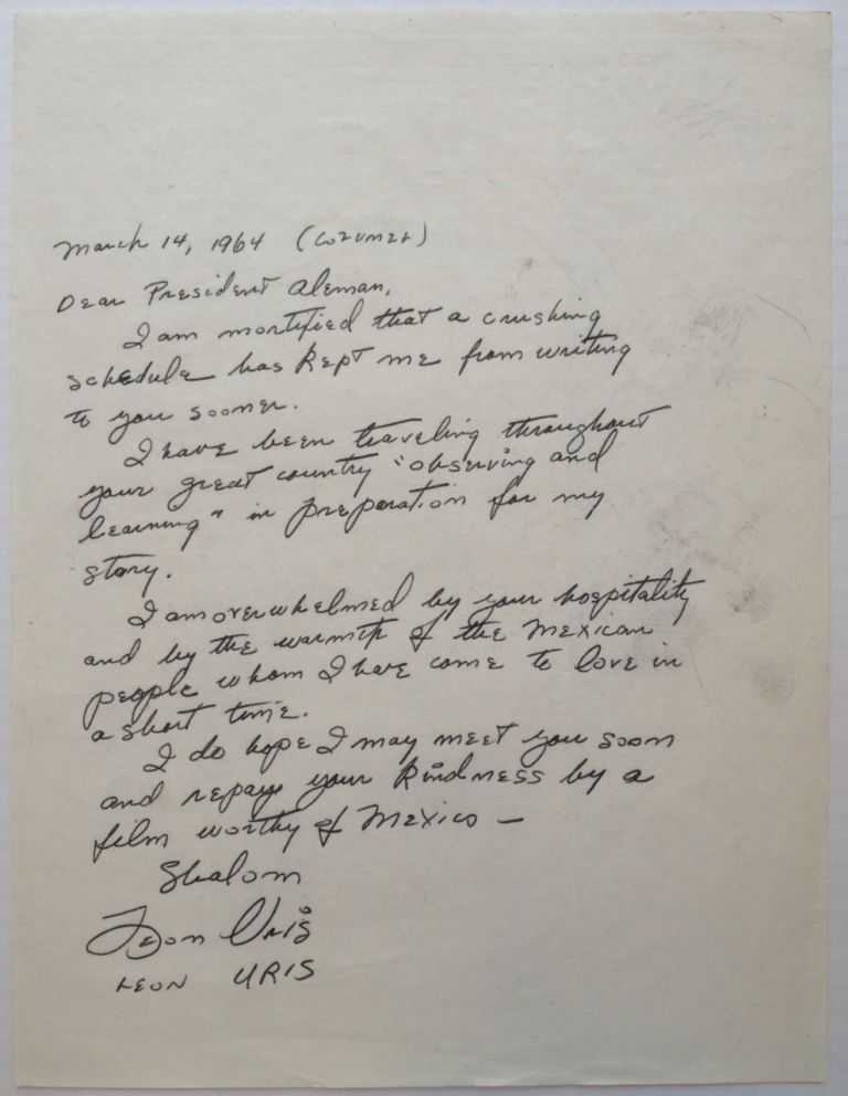 Autographed Letter Signed to the President of Mexico. Leon URIS, 1924 - 1903.