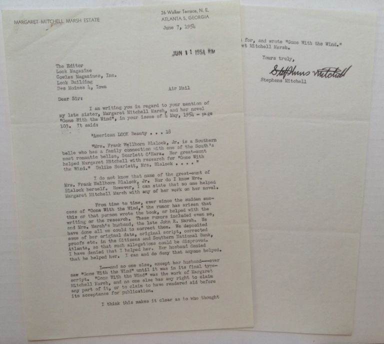 Typed Letter Signed by Margaret Mitchell's brother Stephens. Margaret MITCHELL.