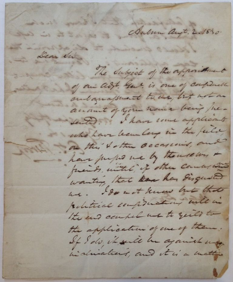 Autographed Letter Signed to a future Civil War general and politician. Enos T. THROOP, 1784 - 1874.