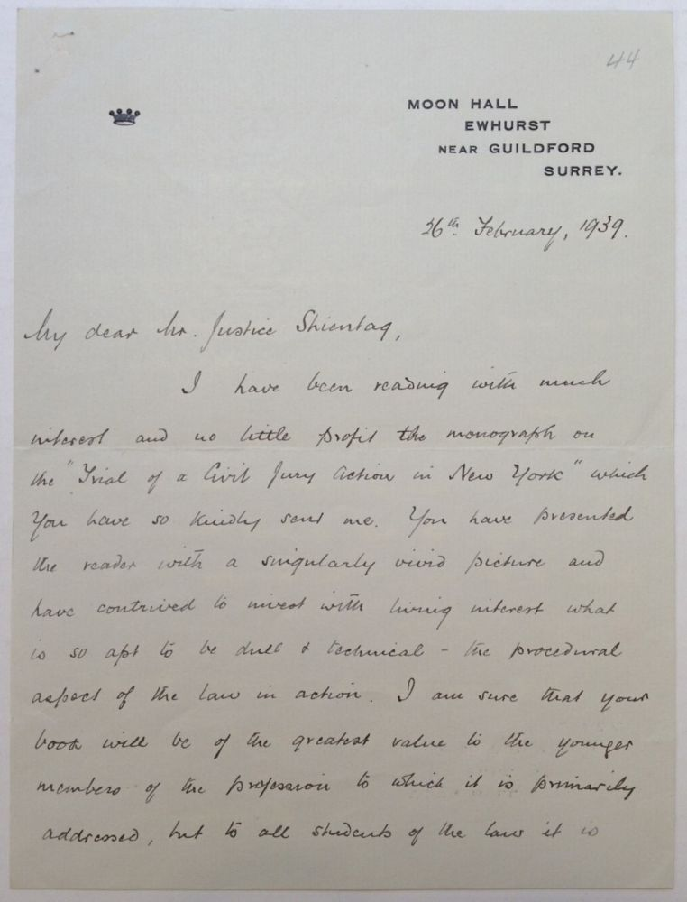 "Autographed Letter Signed ""Macmillan"" to a Judge. Harold MacMILLAN, 1894 - 1986."