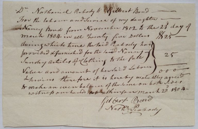 Autographed Document Signed. Nathaniel PEABODY, 1741 - 1823.