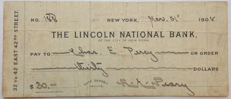 Signed Check. Admiral Robert Edwin PEARY, 1856 - 1920.