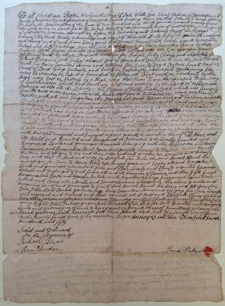 18th-Century Document Authorizing a Sale of Land. NEW YORK CITY REAL ESTATE.