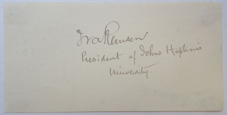 Attractive Signature on a Blank Page. Ira REMSEN, 1846 - 1927.