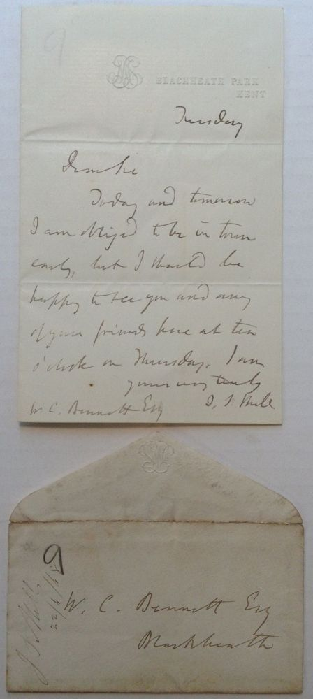 Autographed Letter Signed on personal stationery. John Stuart MILL, 1806 - 1873.