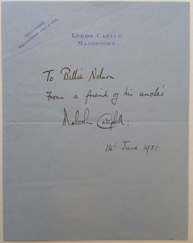 Autogrpahed Letter Signed. Malcolm CAMPBELL, 1885 - 1948.