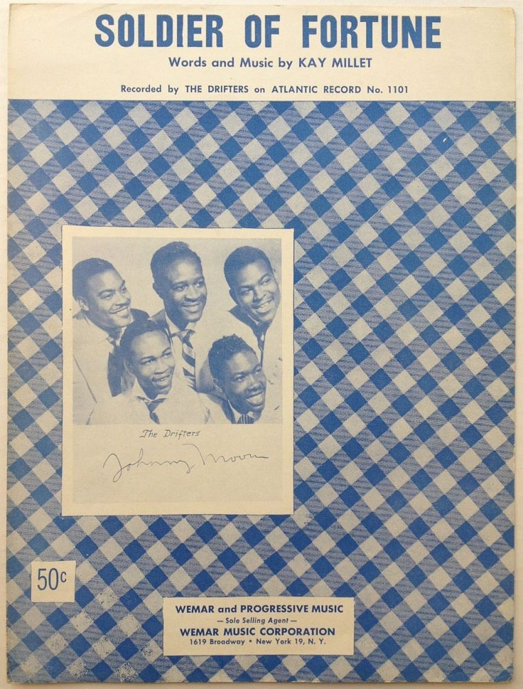 """Signed Sheet Music -- """"Soldier of Fortune"""" Johnny MOORE, 1934 - 1998."""