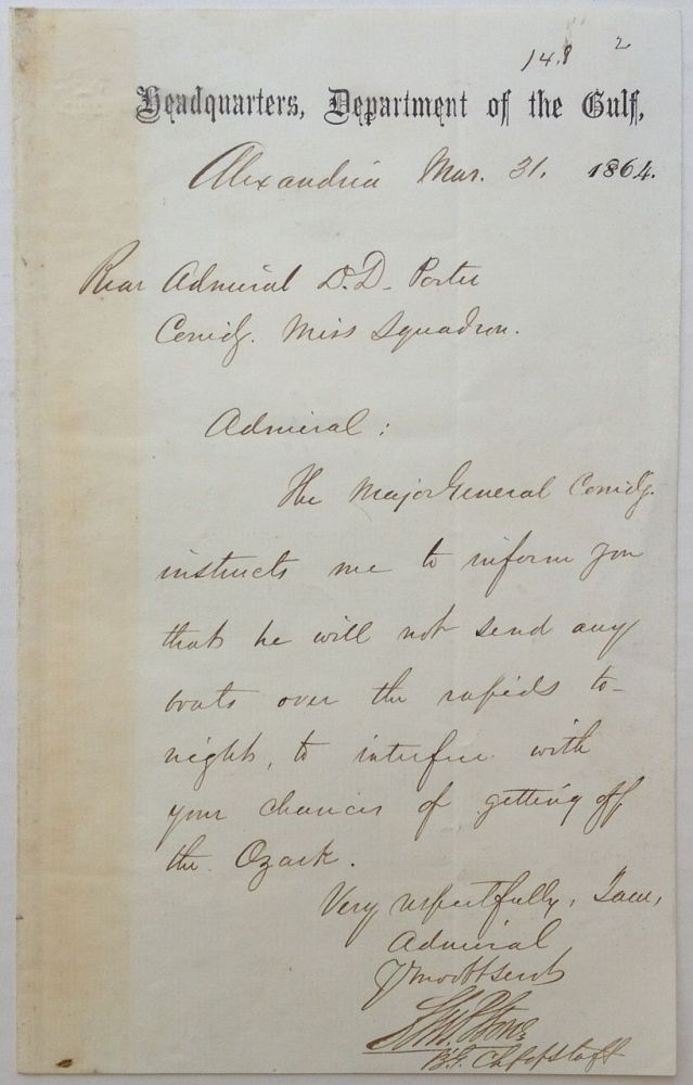 Autographed Letter Signed. Charles Pomeroy STONE, 1824 - 1887.