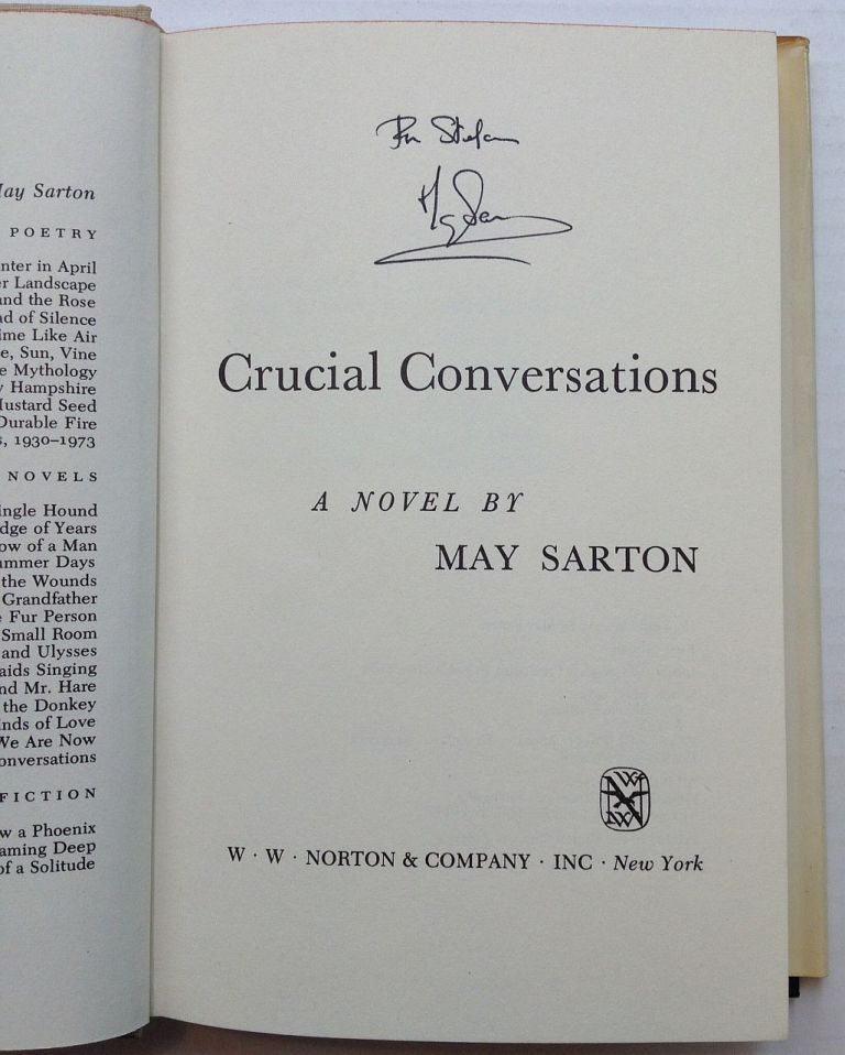 Crucial Conversations. May SARTON.
