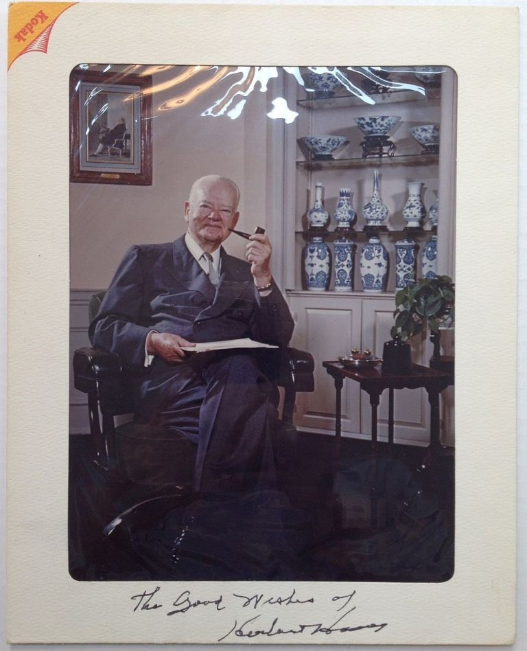 Inscribed Photograph with seven other photos. Herbert HOOVER, 1874 - 1964.