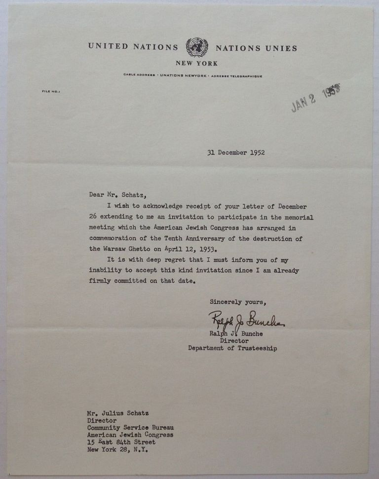 """Typed Letter Signed on """"United Nations"""" letterhead. Ralph BUNCHE, 1903 - 1971."""