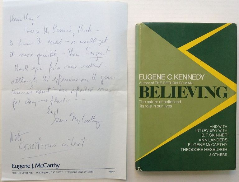 Autographed Letter Signed with a book. Eugene J. McCARTHY, 1916 - 2005.