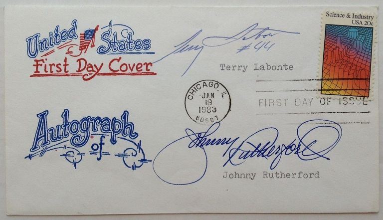 First Day Cover signed by Terry Labonte and Johnny Rutherford. NASCAR.