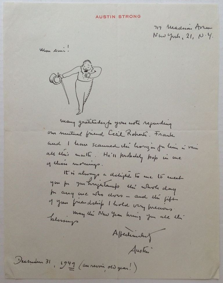 """Autographed Letter Signed """"Austin"""" on personal letterhead. Austin STRONG, 1881 - 1952."""