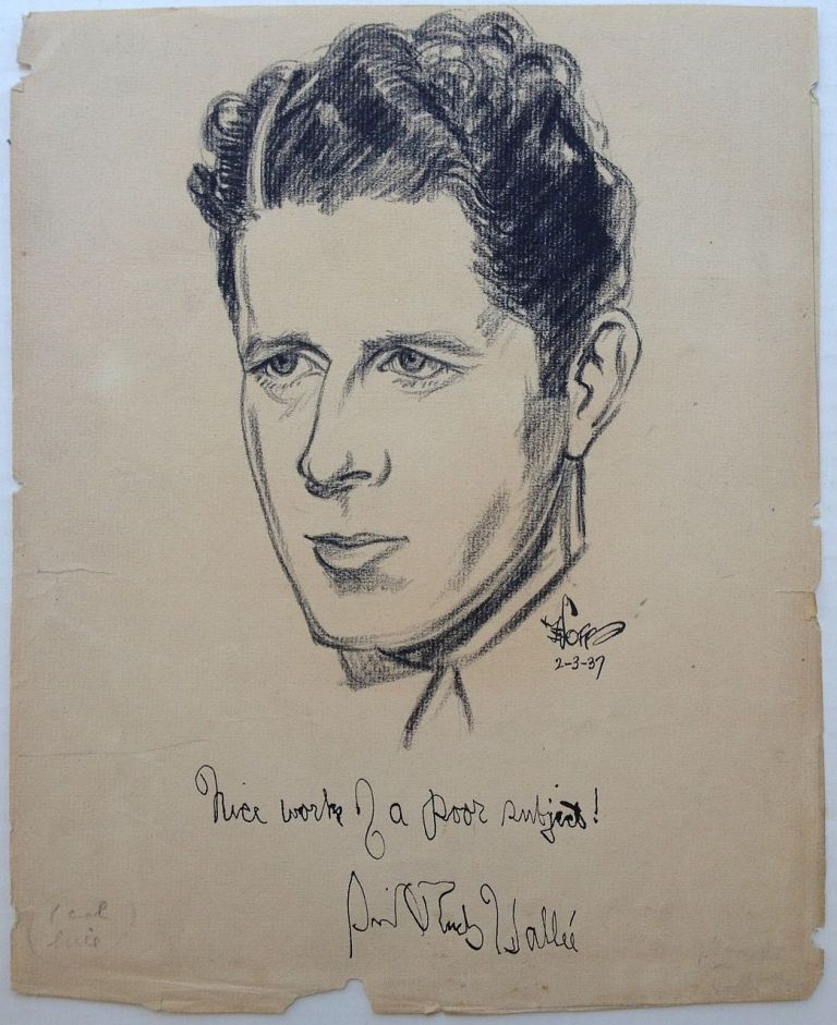 Signed Original Pencil Portrait. Rudy VALLEE, 1901 - 1986.