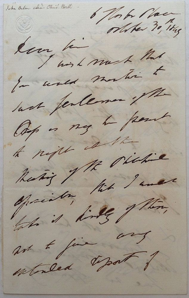 Autographed Letter Signed. John WILSON, a k. a. Christopher North, 1785 - 1854.