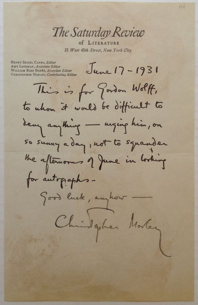 "Autographed Letter Signed on ""The Saturday Review"" letterhead. Christopher MORLEY, 1890 - 1957."