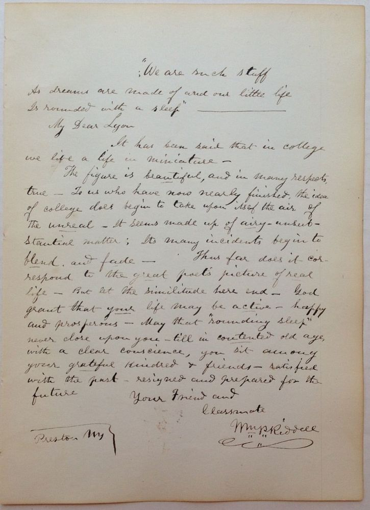 Autographed Letter Signed with the addition of a quote. William Pitt RIDDELL, 1828 - 1872.