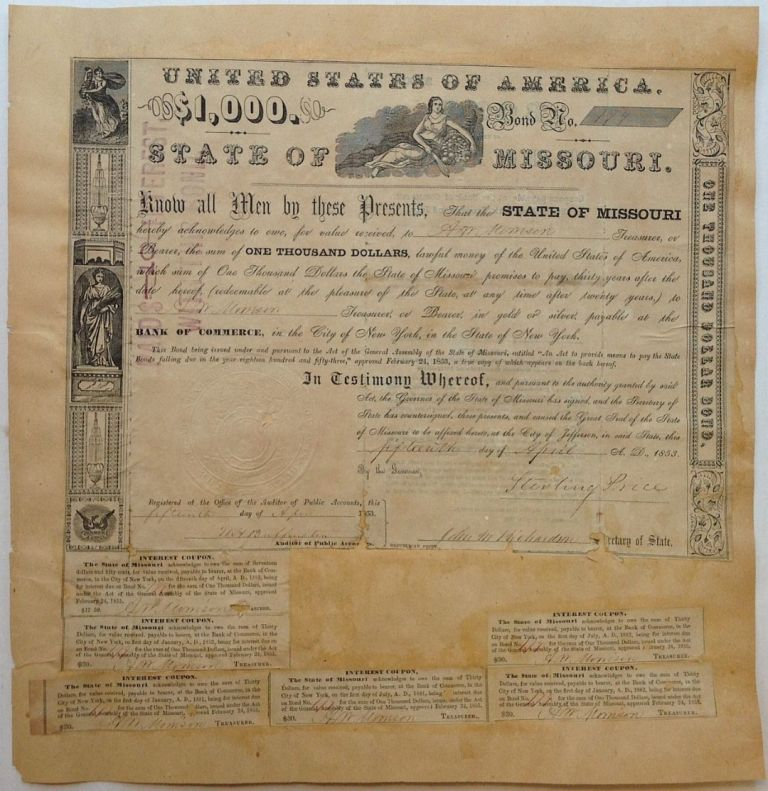 Partially Printed Document Signed. Gen. Sterling PRICE, 1809 - 1867.