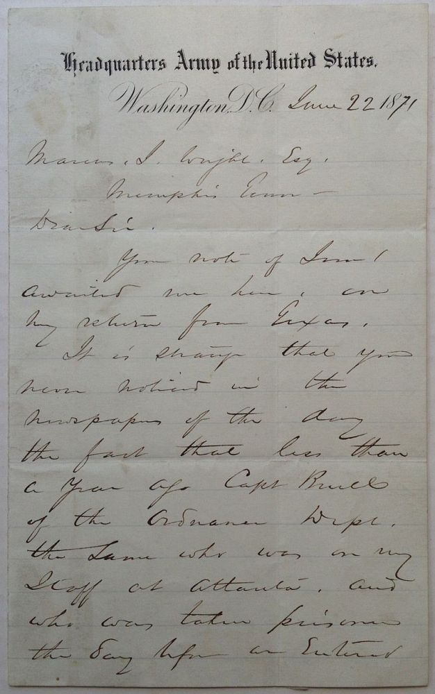 "Autographed Letter Signed on ""Headquarters Army of the United States"" letterhead. William T. SHERMAN, 1820 - 1891."