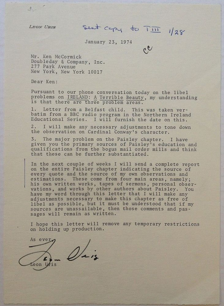Typed Letter Signed to his publisher. Leon URIS, 1924 - 2003.
