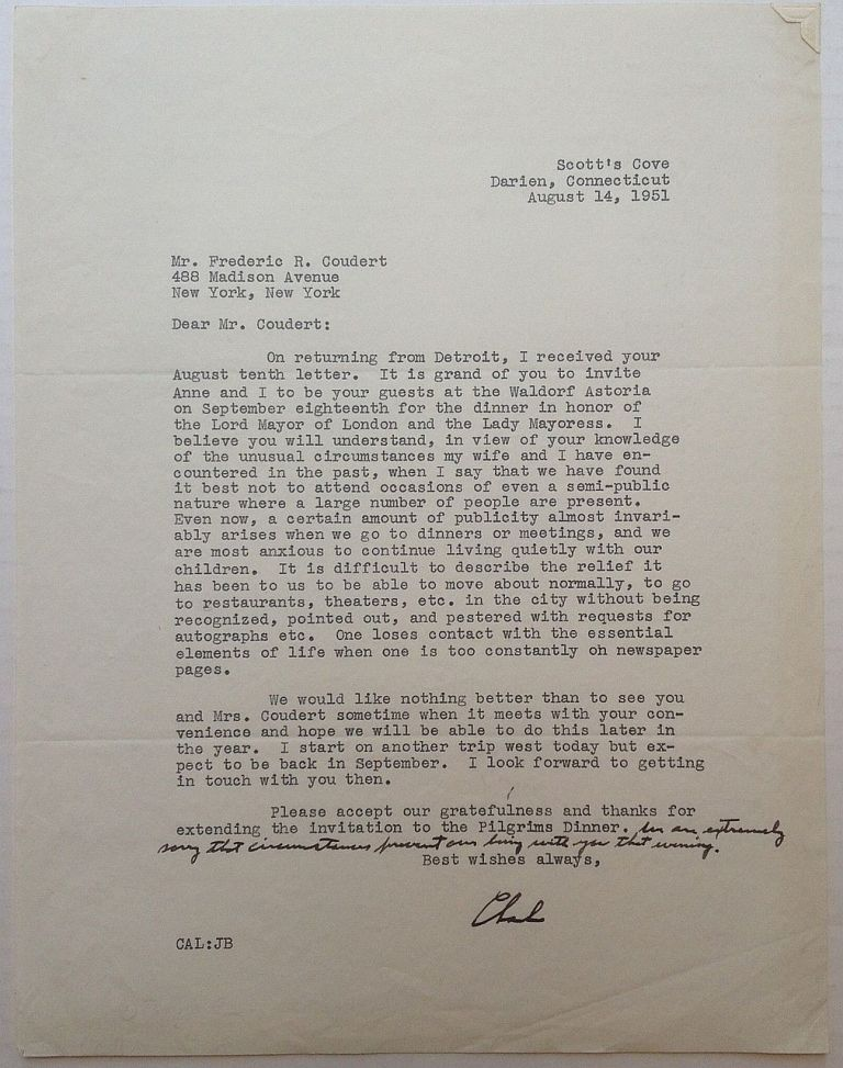 """Typed Letter Signed """"Charles"""" with a handwritten postscript. Charles A. LINDBERGH, 1902 - 1974."""
