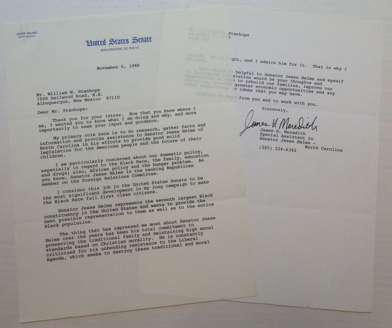 "Typed Letter Signed on ""United States Senate"" letterhead. James H. MEREDITH, 1933 -."