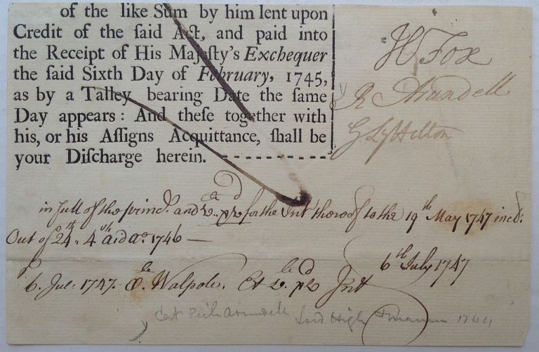 Partly Printed Document Signed. Henry FOX, 1st Baron Holland, 1705 - 1774.