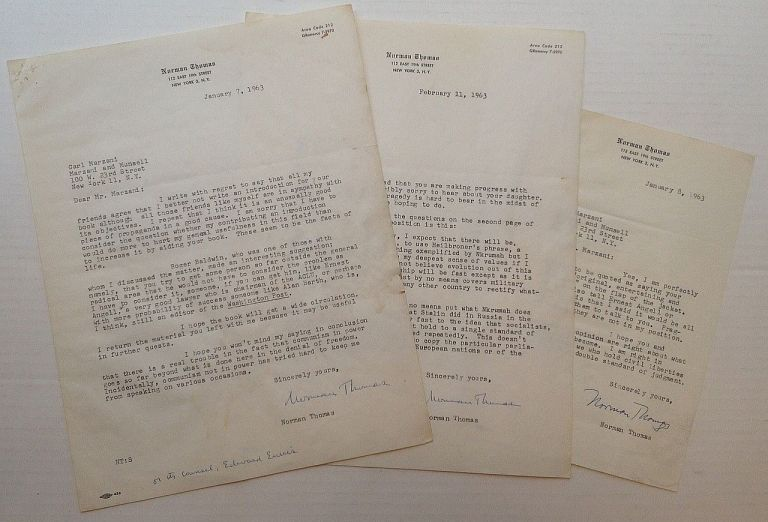 Three Typed Letters Signed on personal stationery. Norman THOMAS, 1884 - 1968.