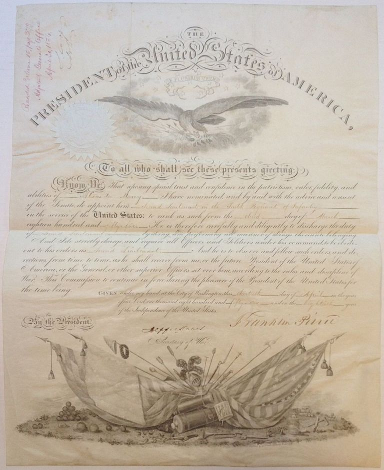 Military Document Signed as President. Franklin PIERCE, 1804 - 1869.