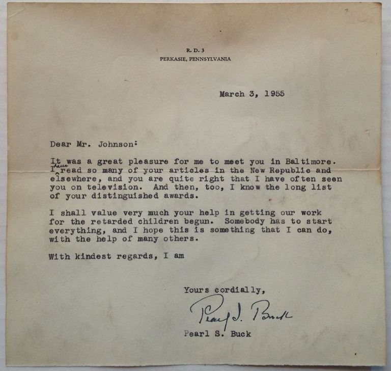 Typed Letter Signed to a fellow author. Pearl S. BUCK, 1892 - 1973.