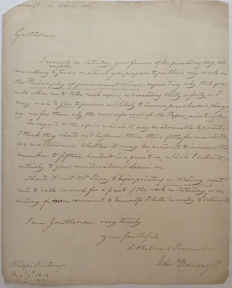 Historically important Autographed Letter Signed. Edward BANCROFT, 1744 - 1821.