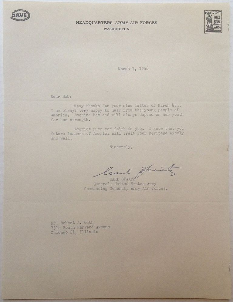 """Typed Letter Signed on """"Headquarters, Army Air Forces"""" letterhead. Carl SPAATZ, 1891 - 1974."""
