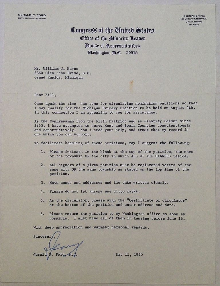 "Typed Letter Signed ""Jerry"" on official letterhead. Gerald R. FORD, 1913 - 2006."