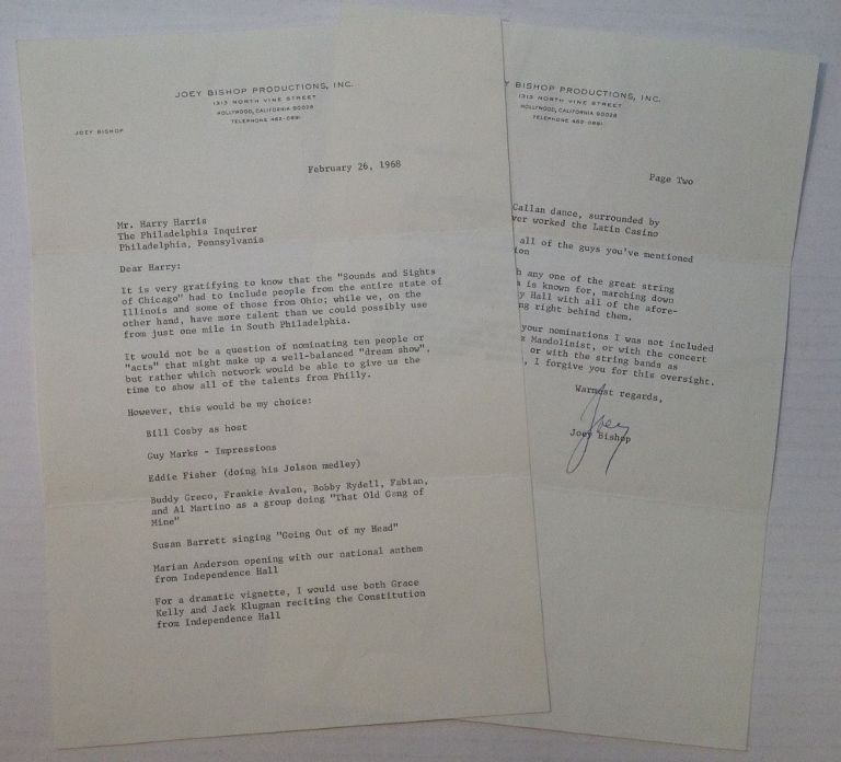 """Chatty Typed Letter Signed """"Joey"""" on personal letterhead. Joey BISHOP, 1918 - 2007."""