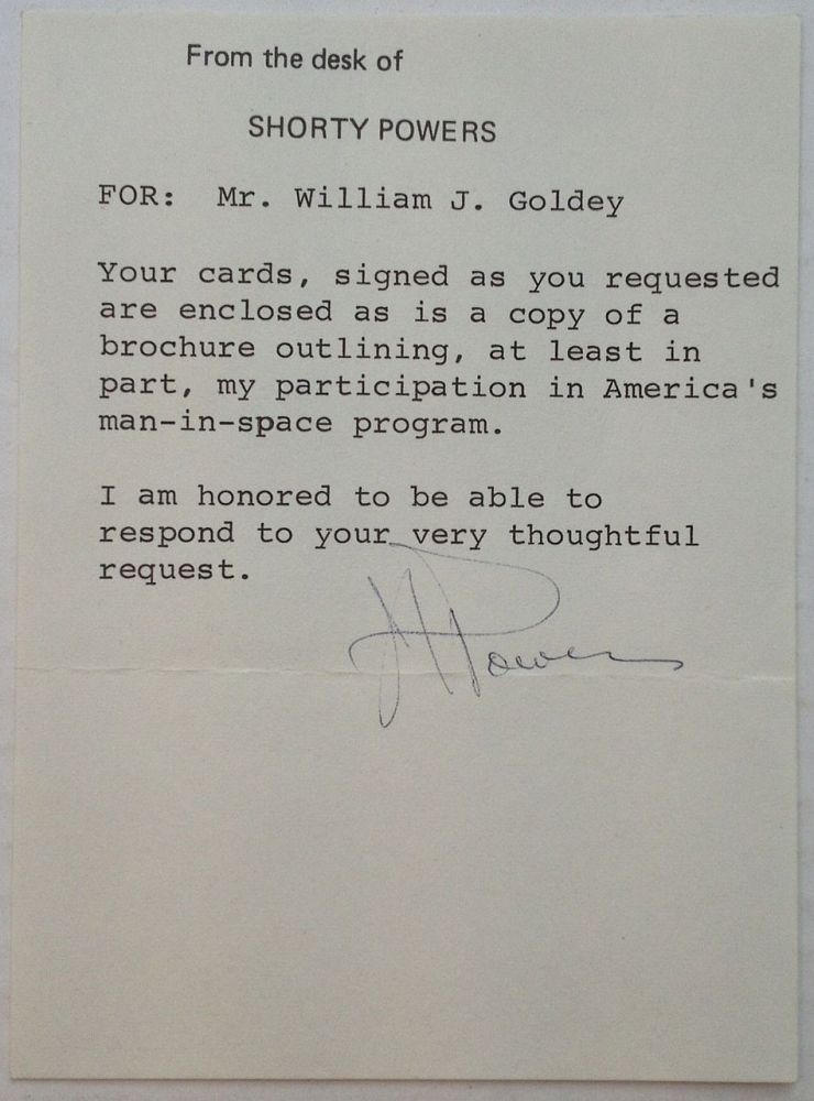 """Typed Note Signed """"J.S. Powers"""" on personal stationery. John Anthony """"Shorty"""" POWERS, 1922 - 1979."""