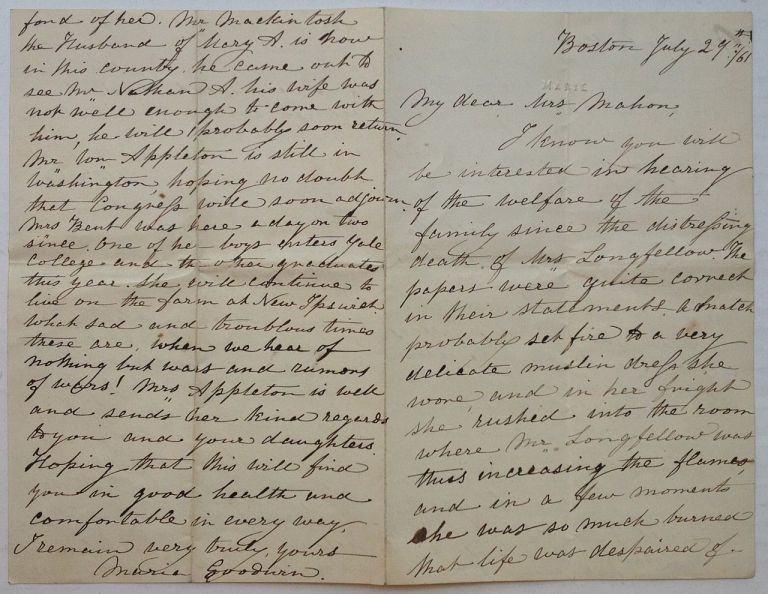Lengthy handwritten letter about the events of July 1861 that would forever change his life. Henry Wadsworth LONGFELLOW.