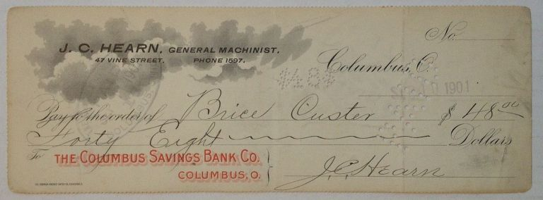 Signed Check. CUSTER, 1831 - 1904, Brice - CUSTER.