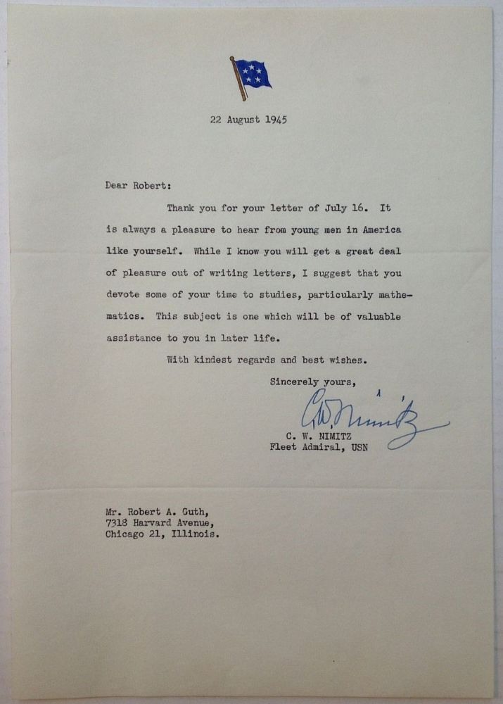 Typed Letter Signed on embossed Five-Star Admiral letterhead. Chester W. NIMITZ, 1888 - 1966.