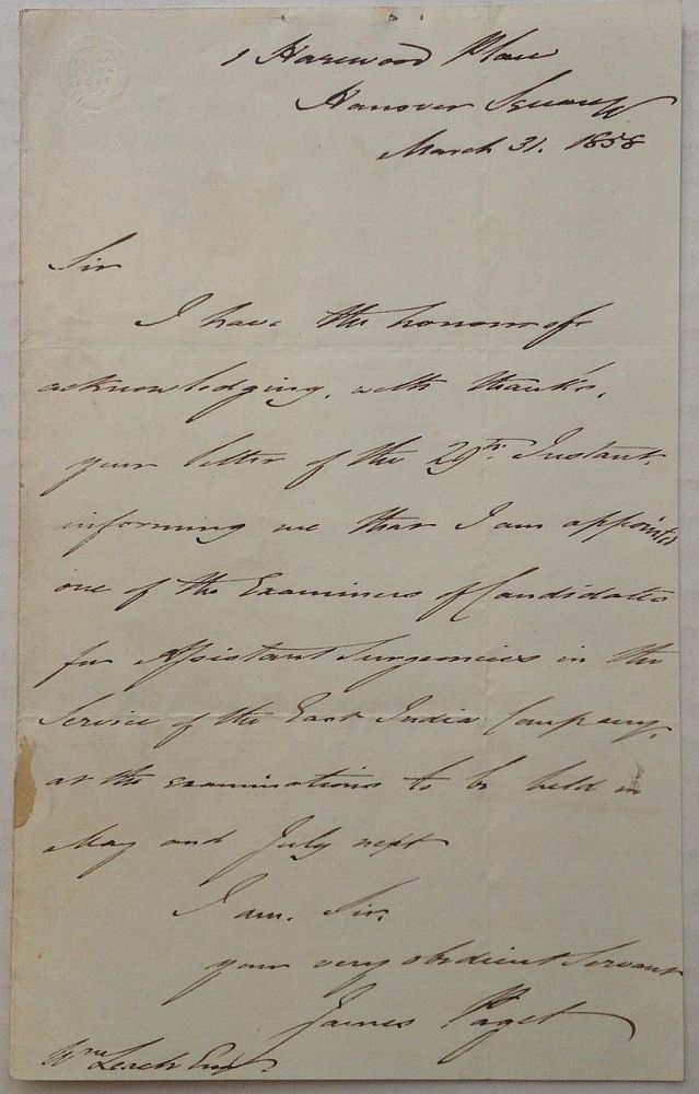 Autographed Letter Signed with medical content. James PAGET, 1814 - 1899.