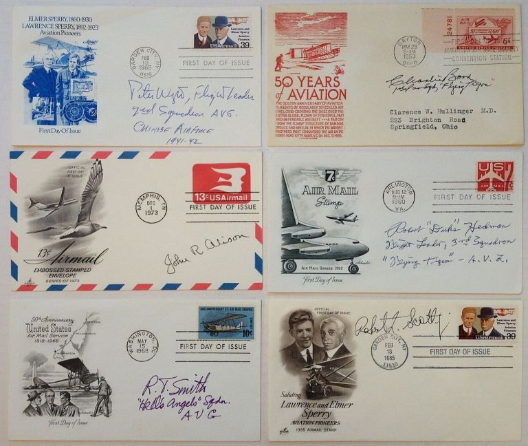 Collection of 11 signed aviation First Day Covers. FLYING TIGERS.