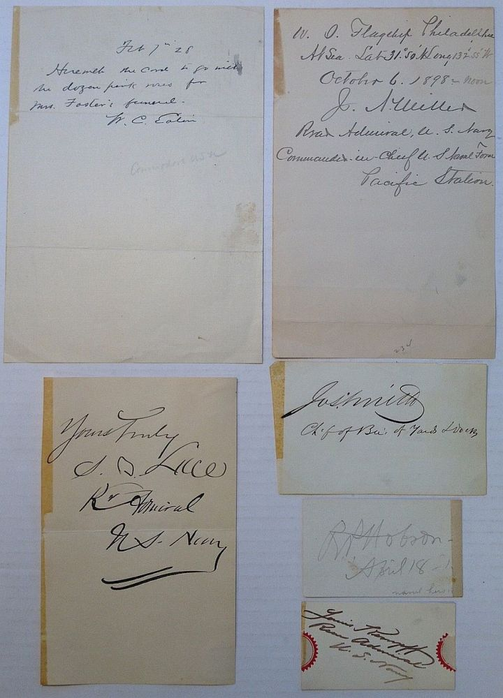 Collection of six signatures and autographed notes. UNITES STATES REAR ADMIRALS.