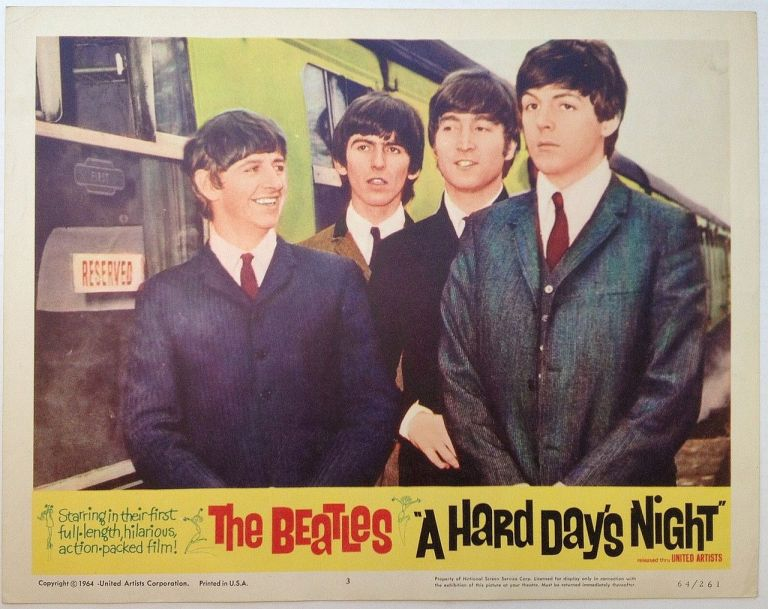 """Three Lobby Cards for the film """"A Hard Day's Night"""" BEATLES."""
